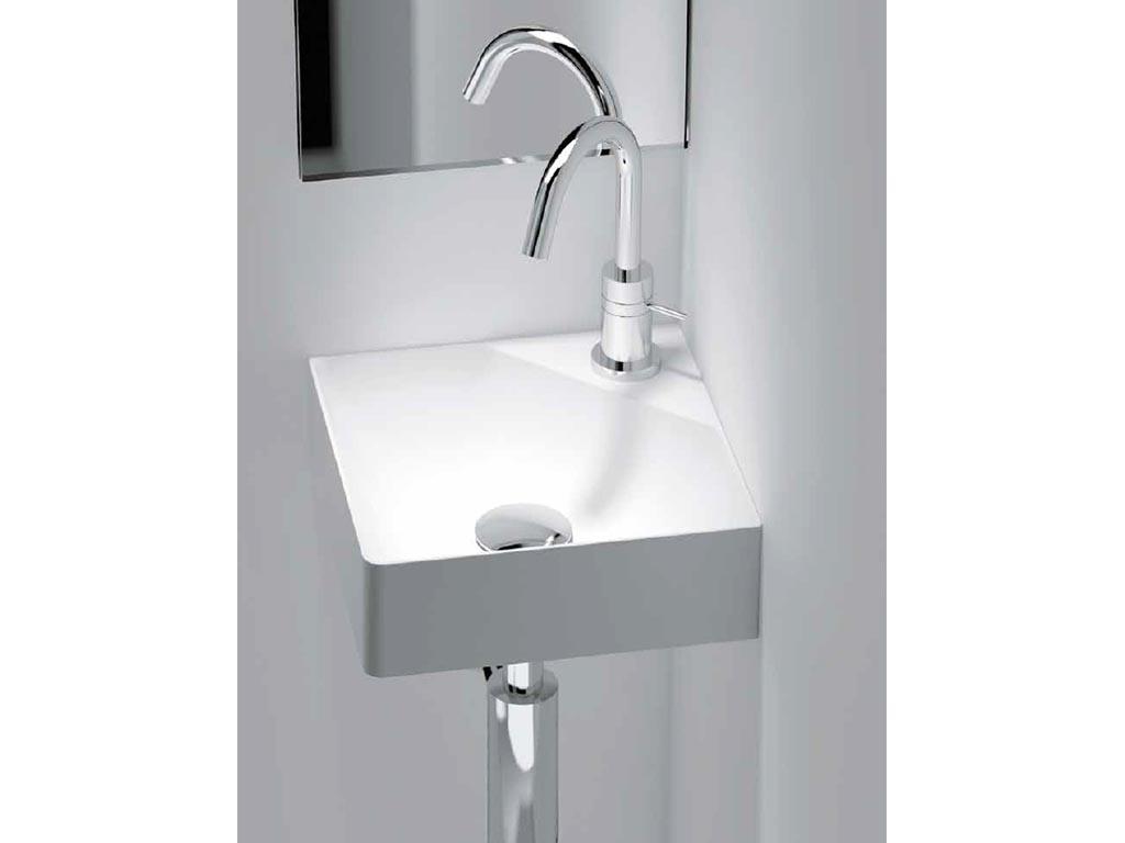 Lavabo esquina tectake lavabo de cermica rectangular - Lavabo de esquina ...